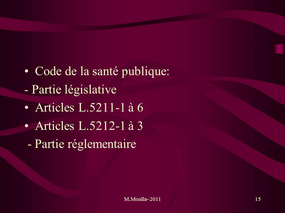 M.Moalla- 201115 Code de la santé publique: - Partie législative Articles L.5211-1 à 6 Articles L.5212-1 à 3 - Partie réglementaire