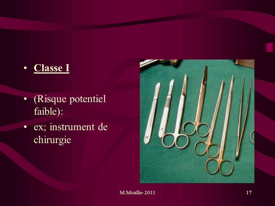 M.Moalla- 201117 Classe I (Risque potentiel faible): ex; instrument de chirurgie