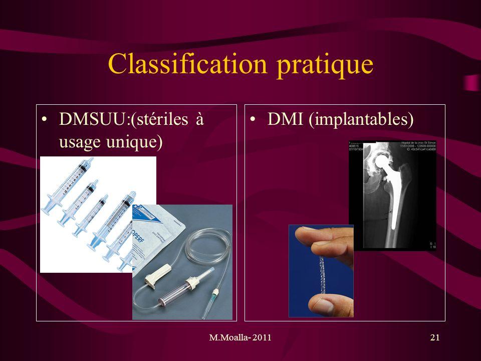 M.Moalla- 201121 Classification pratique DMSUU:(stériles à usage unique) DMI (implantables)