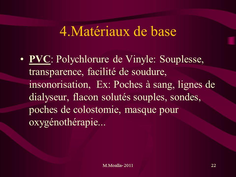 M.Moalla- 201122 4.Matériaux de base PVC: Polychlorure de Vinyle: Souplesse, transparence, facilité de soudure, insonorisation, Ex: Poches à sang, lig