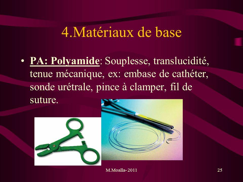 M.Moalla- 201125 4.Matériaux de base PA: Polyamide: Souplesse, translucidité, tenue mécanique, ex: embase de cathéter, sonde urétrale, pince à clamper