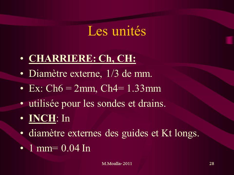 M.Moalla- 201128 Les unités CHARRIERE: Ch, CH: Diamètre externe, 1/3 de mm. Ex: Ch6 = 2mm, Ch4= 1.33mm utilisée pour les sondes et drains. INCH: In di