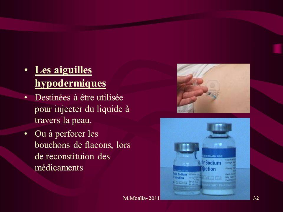 M.Moalla- 201132 Les aiguilles hypodermiques Destinées à être utilisée pour injecter du liquide à travers la peau. Ou à perforer les bouchons de flaco
