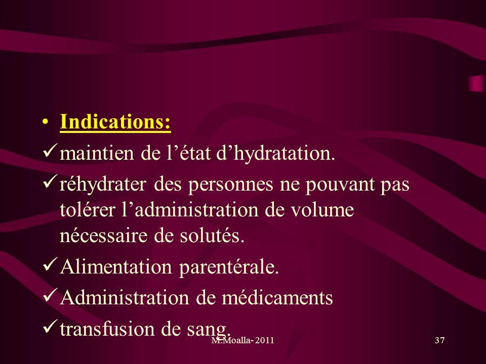 M.Moalla- 201137 Indications: maintien de létat dhydratation. réhydrater des personnes ne pouvant pas tolérer ladministration de volume nécessaire de