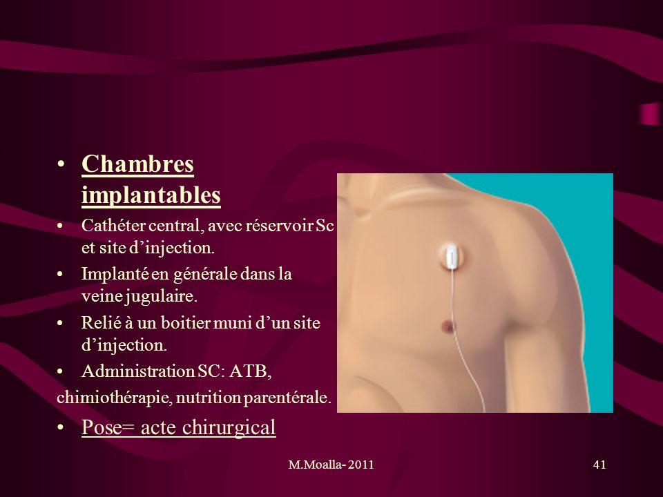 M.Moalla- 201141 Chambres implantables Cathéter central, avec réservoir Sc et site dinjection. Implanté en générale dans la veine jugulaire. Relié à u