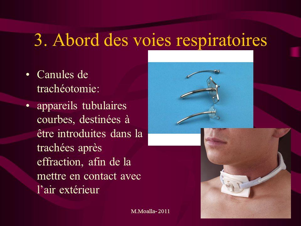 M.Moalla- 201146 3. Abord des voies respiratoires Canules de trachéotomie: appareils tubulaires courbes, destinées à être introduites dans la trachées