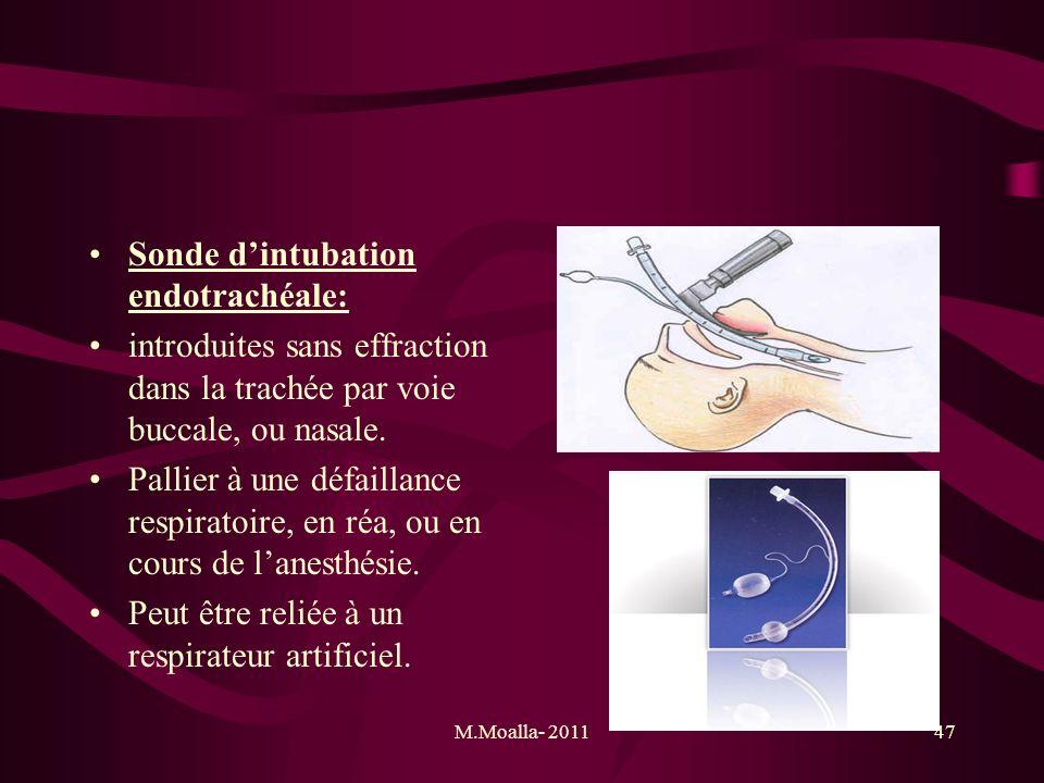 M.Moalla- 201147 Sonde dintubation endotrachéale: introduites sans effraction dans la trachée par voie buccale, ou nasale. Pallier à une défaillance r