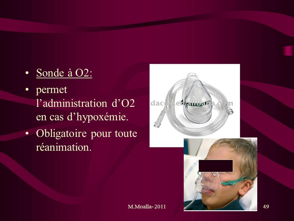 M.Moalla- 201149 Sonde à O2: permet ladministration dO2 en cas dhypoxémie. Obligatoire pour toute réanimation.
