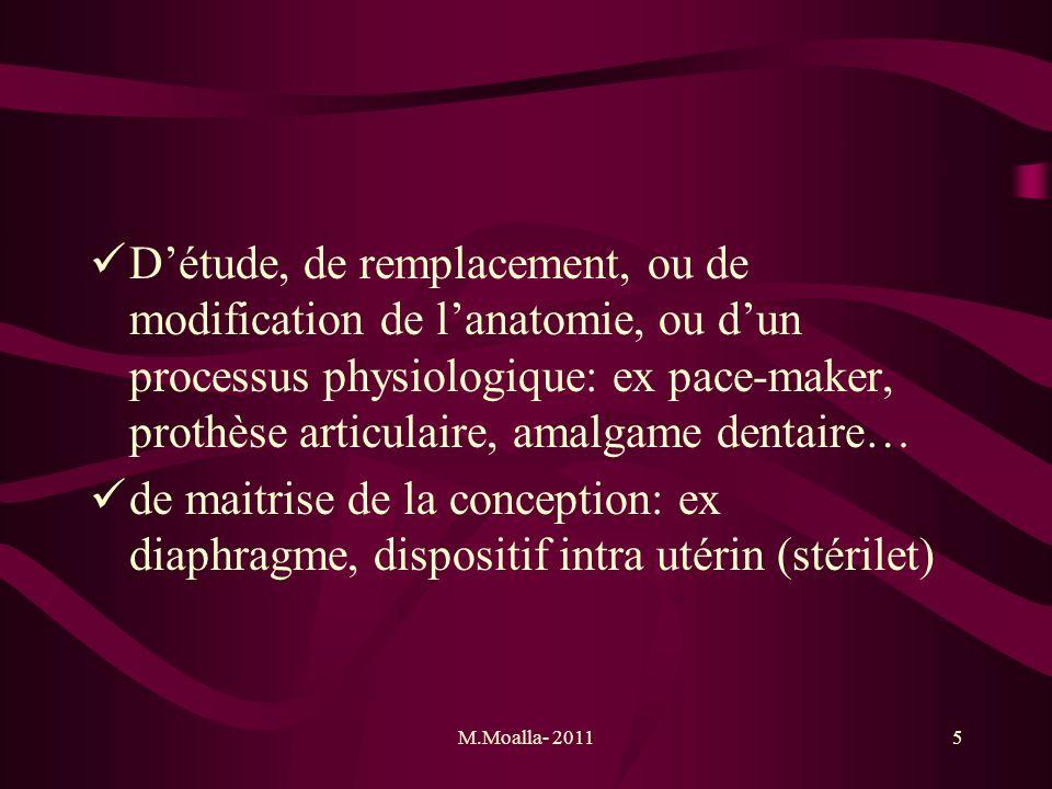 M.Moalla- 20115 Détude, de remplacement, ou de modification de lanatomie, ou dun processus physiologique: ex pace-maker, prothèse articulaire, amalgam