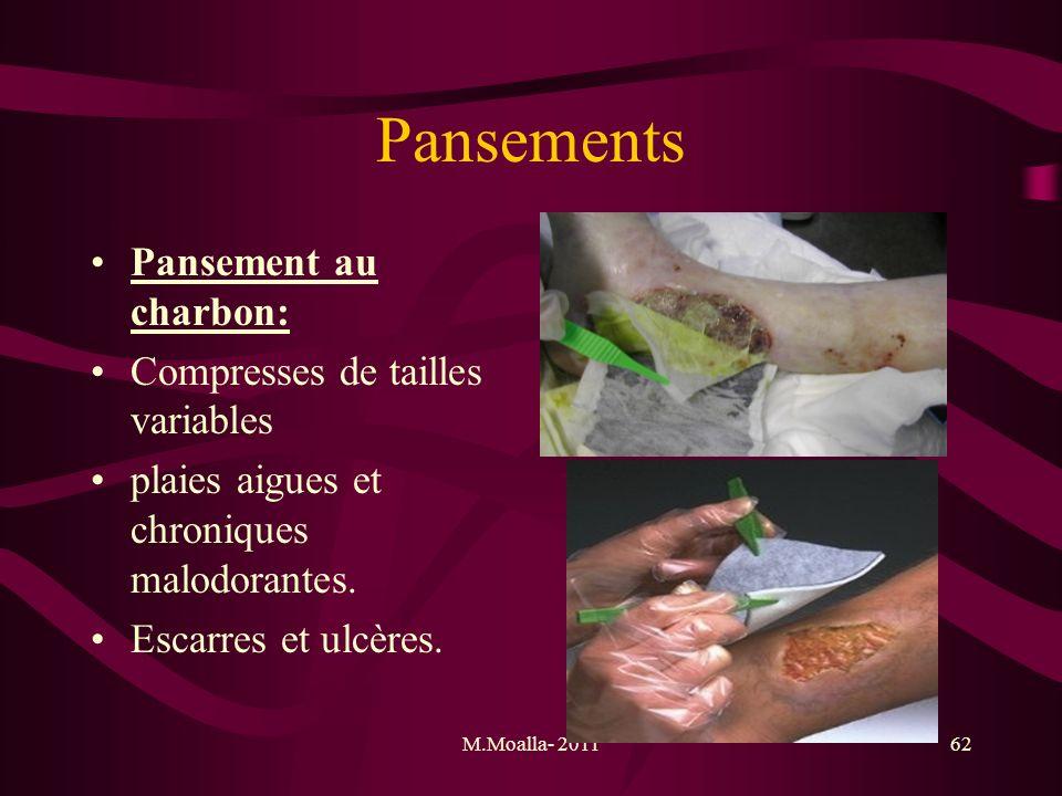 M.Moalla- 201162 Pansements Pansement au charbon: Compresses de tailles variables plaies aigues et chroniques malodorantes. Escarres et ulcères.
