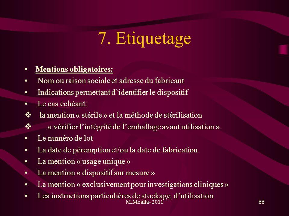 M.Moalla- 201166 7. Etiquetage Mentions obligatoires: Nom ou raison sociale et adresse du fabricant Indications permettant didentifier le dispositif L