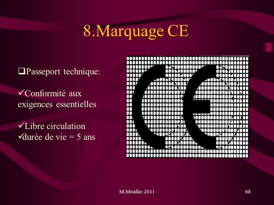 M.Moalla- 201168 8.Marquage CE Passeport technique: Conformité aux exigences essentielles Libre circulation durée de vie = 5 ans