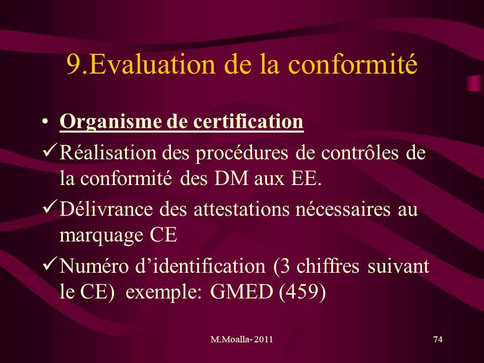 M.Moalla- 201174 9.Evaluation de la conformité Organisme de certification Réalisation des procédures de contrôles de la conformité des DM aux EE. Déli