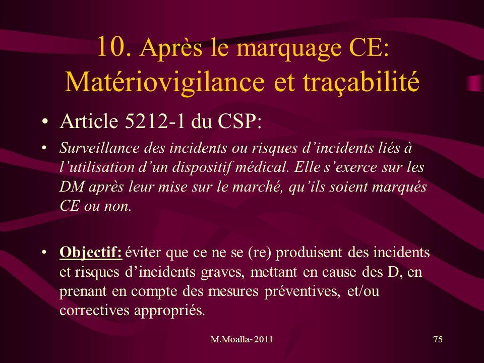 M.Moalla- 201175 10. Après le marquage CE: Matériovigilance et traçabilité Article 5212-1 du CSP: Surveillance des incidents ou risques dincidents lié