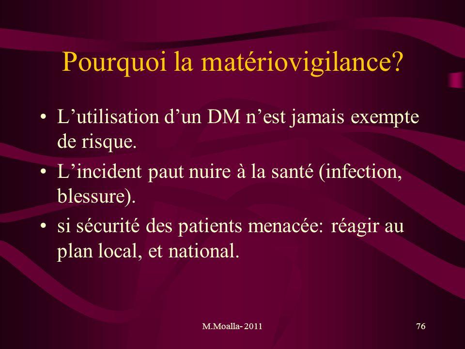 M.Moalla- 201176 Pourquoi la matériovigilance? Lutilisation dun DM nest jamais exempte de risque. Lincident paut nuire à la santé (infection, blessure