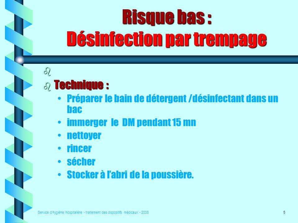 Service dhygiène hospitalière - traitement des dispositifs médicaux - 20065 Risque bas : Désinfection par trempage b b Technique : Préparer le bain de détergent /désinfectant dans un bac immerger le DM pendant 15 mn nettoyer rincer sécher Stocker à labri de la poussière.