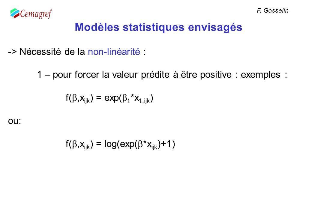 Modèles statistiques envisagés -> Nécessité de la non-linéarité : 1 – pour forcer la valeur prédite à être positive : exemples : f(,x ijk ) = exp( *x