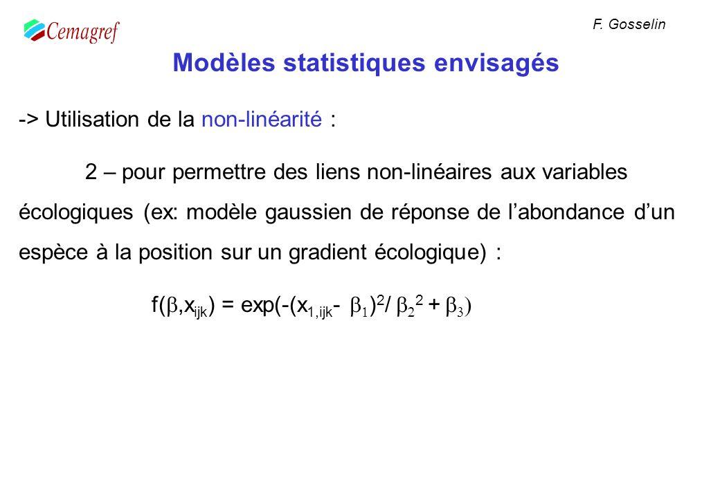 Modèles statistiques envisagés -> Utilisation de la non-linéarité : 2 – pour permettre des liens non-linéaires aux variables écologiques (ex: modèle g
