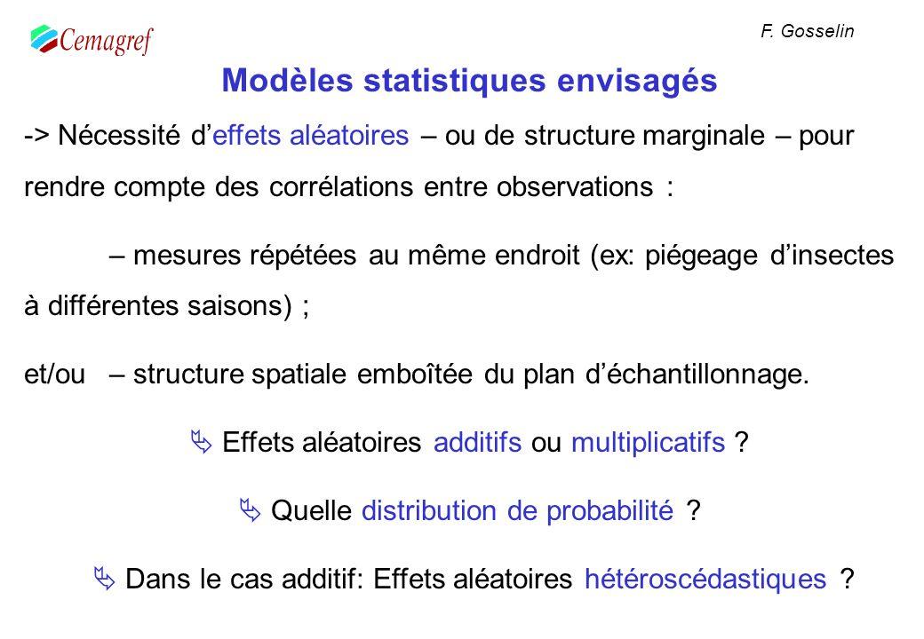 Modèles statistiques envisagés -> Nécessité deffets aléatoires – ou de structure marginale – pour rendre compte des corrélations entre observations :