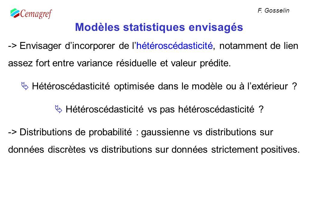 Modèles statistiques envisagés -> Envisager dincorporer de lhétéroscédasticité, notamment de lien assez fort entre variance résiduelle et valeur prédi