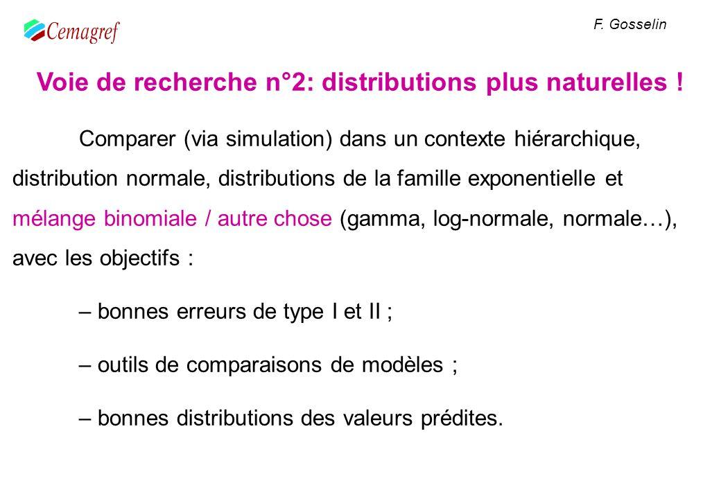 Voie de recherche n°2: distributions plus naturelles ! Comparer (via simulation) dans un contexte hiérarchique, distribution normale, distributions de