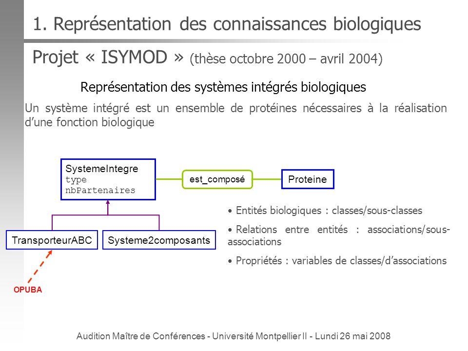 Audition Maître de Conférences - Université Montpellier II - Lundi 26 mai 2008 Projet « ISYMOD » (thèse octobre 2000 – avril 2004) Représentation des