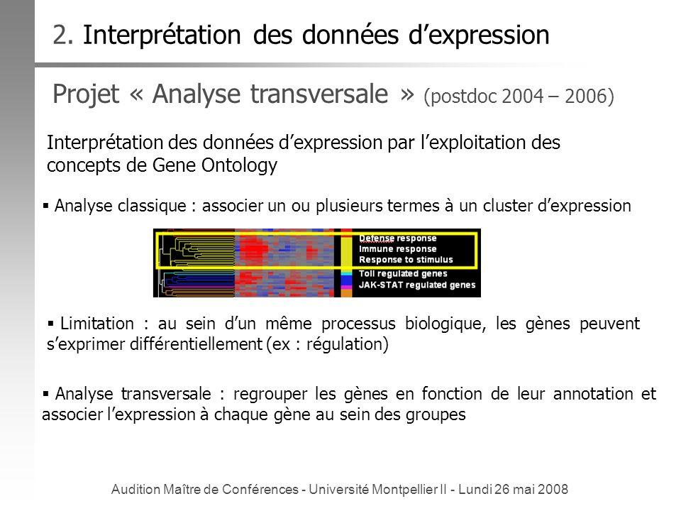 Audition Maître de Conférences - Université Montpellier II - Lundi 26 mai 2008 Projet « Analyse transversale » (postdoc 2004 – 2006) Interprétation de