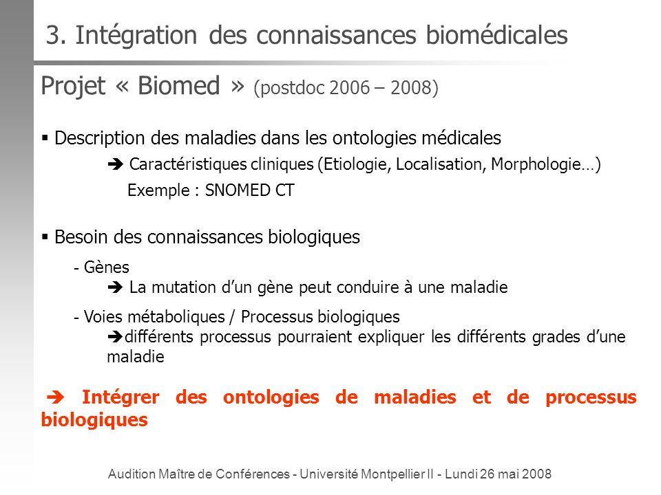 Audition Maître de Conférences - Université Montpellier II - Lundi 26 mai 2008 Projet « Biomed » (postdoc 2006 – 2008) 3. Intégration des connaissance