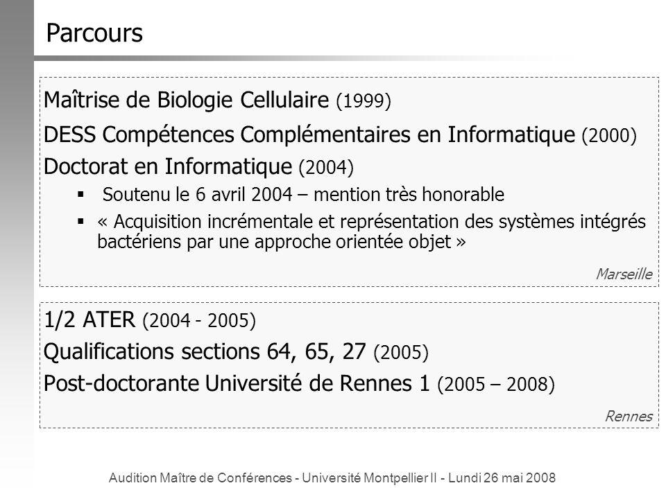 Audition Maître de Conférences - Université Montpellier II - Lundi 26 mai 2008 Rennes Marseille Parcours Maîtrise de Biologie Cellulaire (1999) DESS C