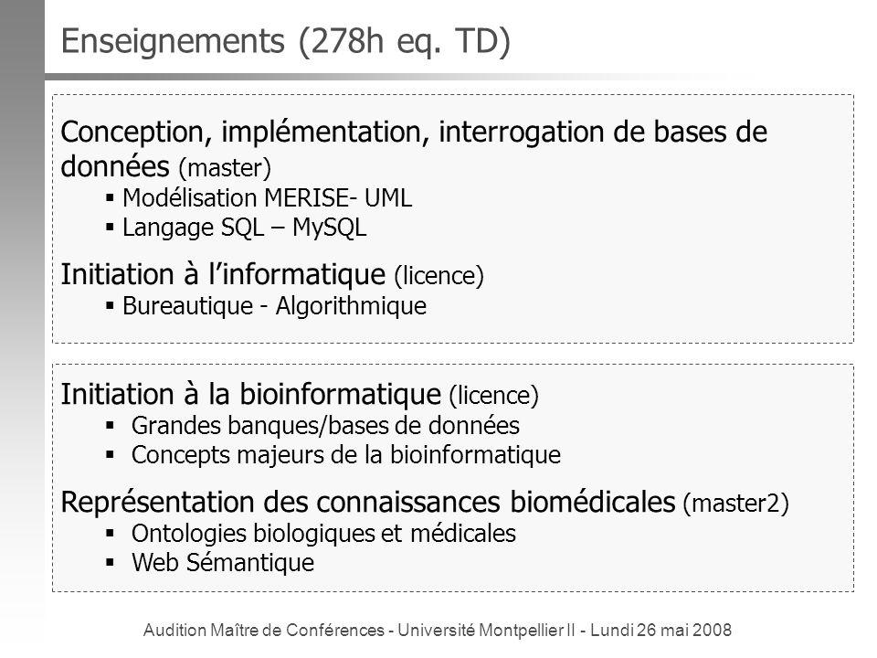 Audition Maître de Conférences - Université Montpellier II - Lundi 26 mai 2008 Enseignements (278h eq. TD) Initiation à la bioinformatique (licence) G