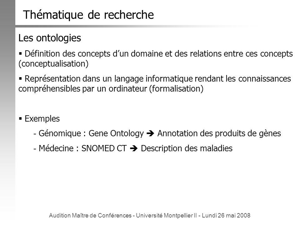 Audition Maître de Conférences - Université Montpellier II - Lundi 26 mai 2008 Les ontologies Définition des concepts dun domaine et des relations ent