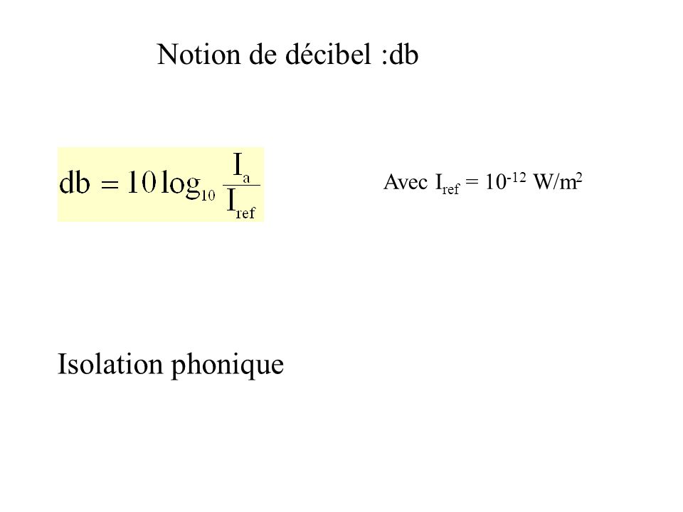 Notion de décibel :db Avec I ref = 10 -12 W/m 2 Isolation phonique