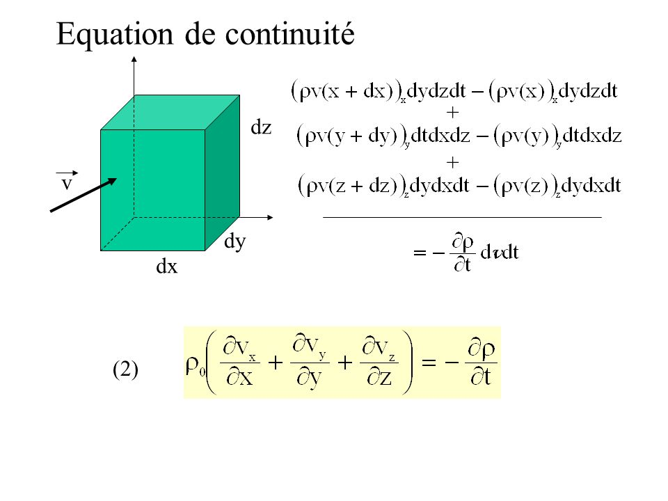 Equation de continuité dx dy dz v + + (2)