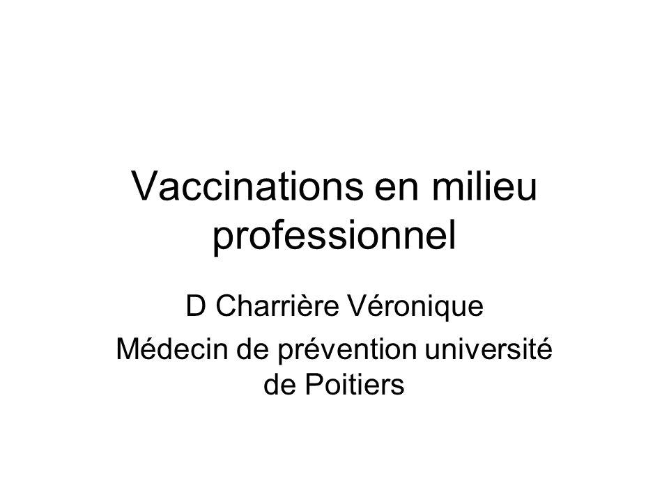 Vaccinations en milieu professionnel D Charrière Véronique Médecin de prévention université de Poitiers
