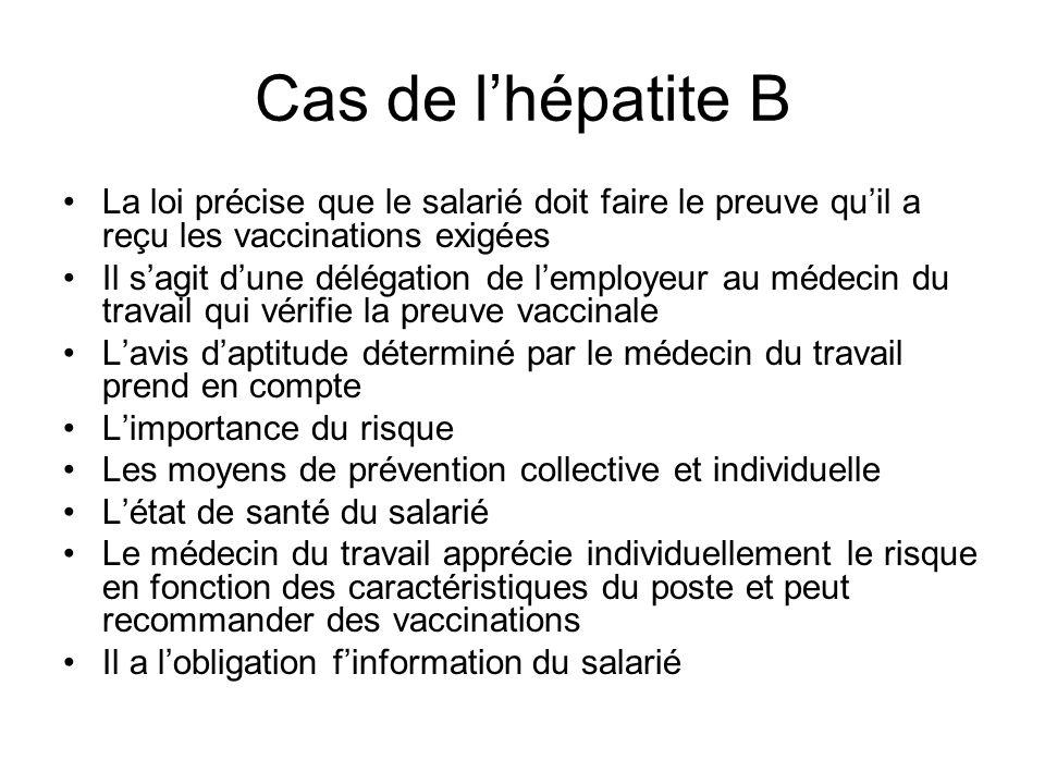 Cas de lhépatite B La loi précise que le salarié doit faire le preuve quil a reçu les vaccinations exigées Il sagit dune délégation de lemployeur au m