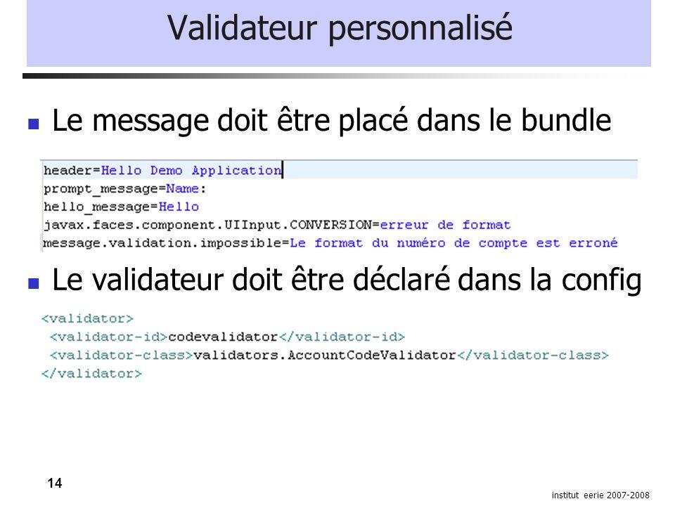 14 institut eerie 2007-2008 Validateur personnalisé Le validateur doit être déclaré dans la config Le message doit être placé dans le bundle