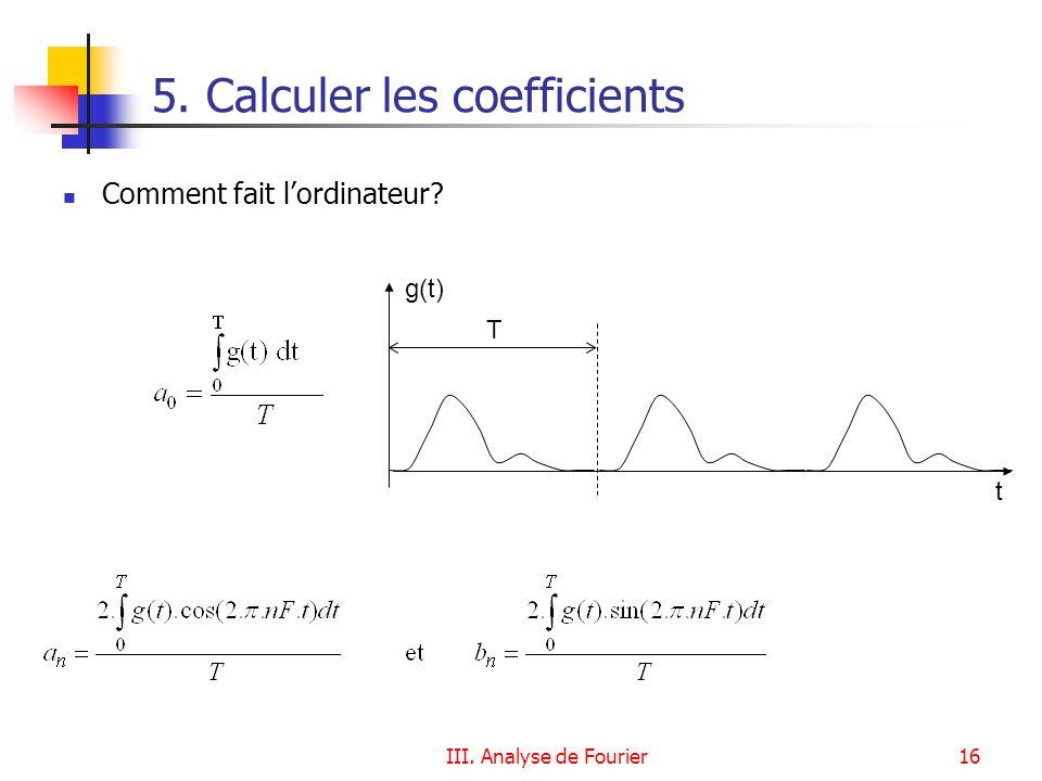 III. Analyse de Fourier16 5. Calculer les coefficients Comment fait lordinateur? g(t) t T