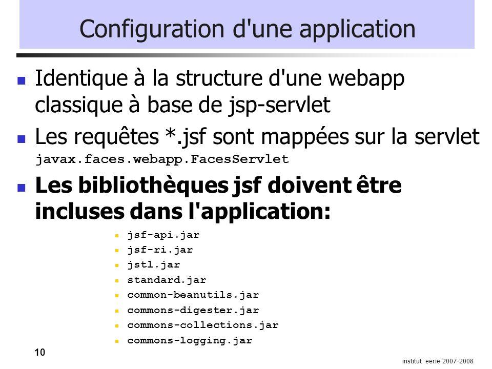 10 institut eerie 2007-2008 Configuration d'une application Identique à la structure d'une webapp classique à base de jsp-servlet Les requêtes *.jsf s