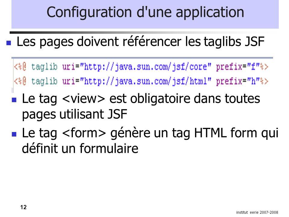 12 institut eerie 2007-2008 Configuration d'une application Le tag est obligatoire dans toutes pages utilisant JSF Le tag génère un tag HTML form qui
