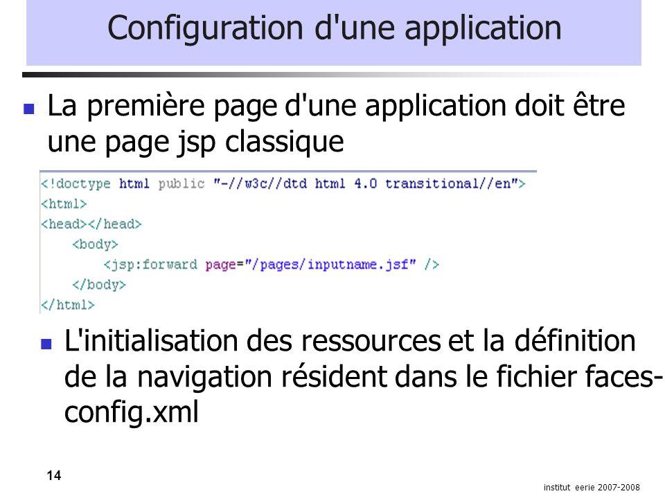 14 institut eerie 2007-2008 Configuration d'une application La première page d'une application doit être une page jsp classique L'initialisation des r