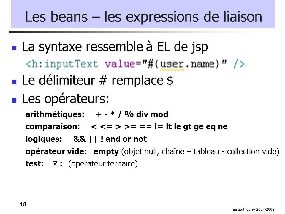 18 institut eerie 2007-2008 Les beans – les expressions de liaison La syntaxe ressemble à EL de jsp Le délimiteur # remplace $ Les opérateurs: arithmé
