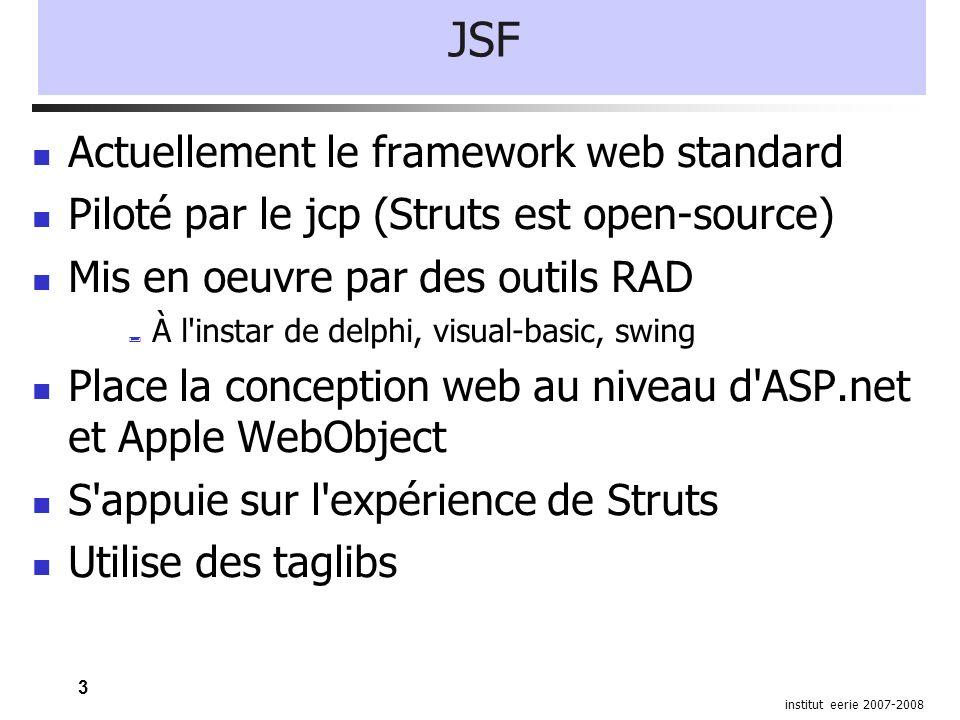3 institut eerie 2007-2008 JSF Actuellement le framework web standard Piloté par le jcp (Struts est open-source) Mis en oeuvre par des outils RAD À l'