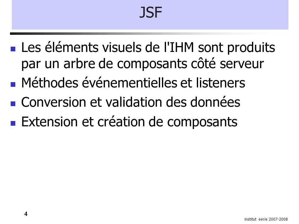 5 institut eerie 2007-2008 JSF Navigation entre pages déclarative Internationalisation Package javax.faces Implémentation de référence Rendu des composants Html Flash (Laszlo) Xul Midlets (J2me) Svg pdf...