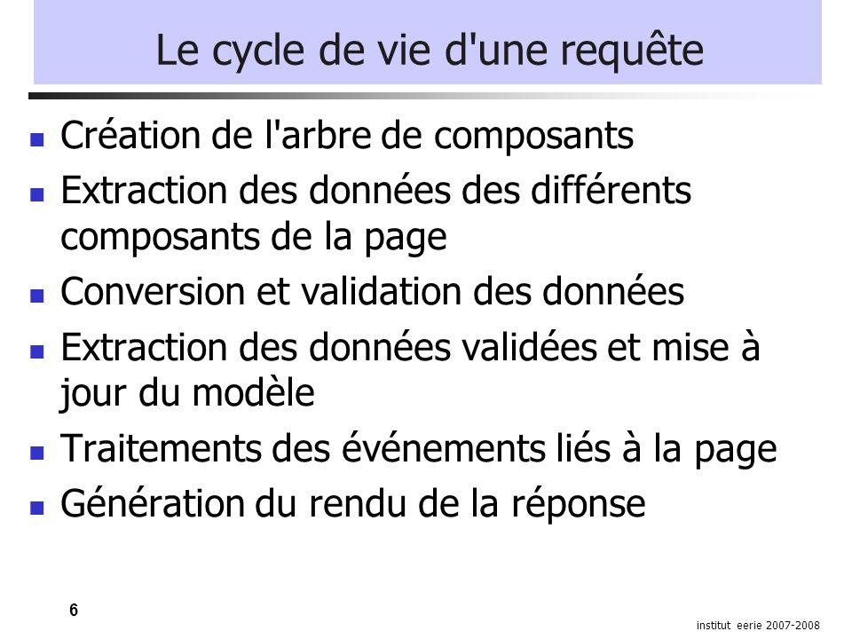 17 institut eerie 2007-2008 Les beans Le cycle de vie est géré par le framework La portée de l objet: Request Session Application Il n y a pas à se soucier de l instanciation