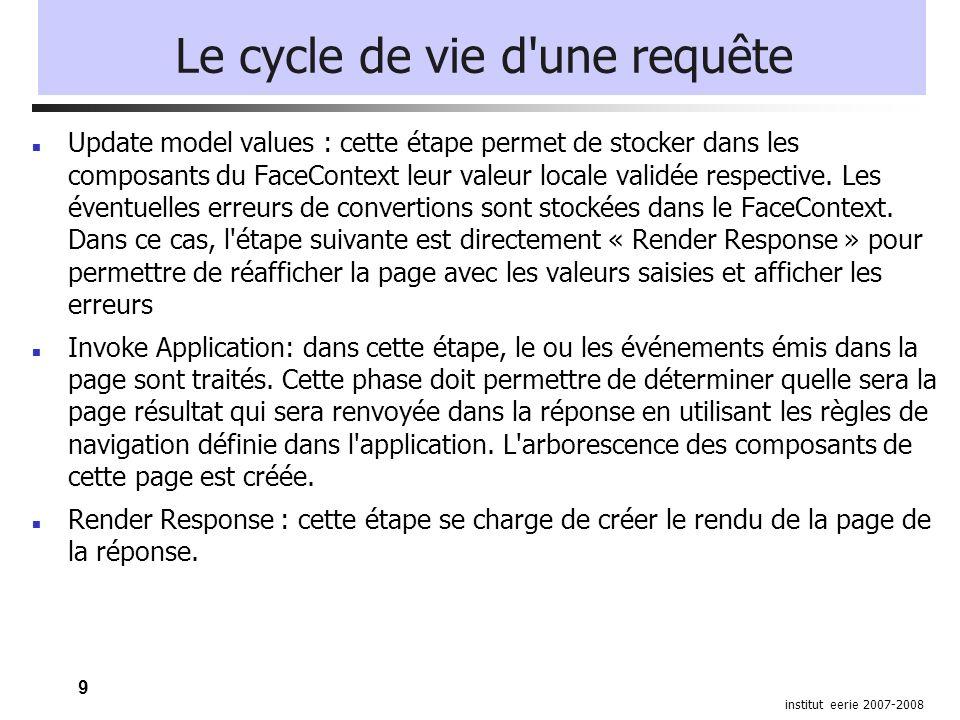 9 institut eerie 2007-2008 Le cycle de vie d'une requête Update model values : cette étape permet de stocker dans les composants du FaceContext leur v
