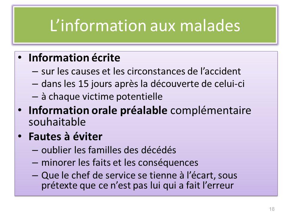 Linformation aux malades Information écrite – sur les causes et les circonstances de laccident – dans les 15 jours après la découverte de celui-ci – à