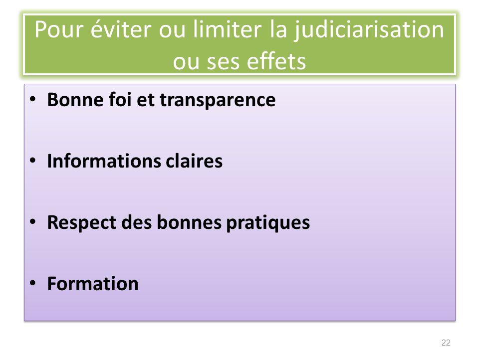 Pour éviter ou limiter la judiciarisation ou ses effets Bonne foi et transparence Informations claires Respect des bonnes pratiques Formation Bonne fo
