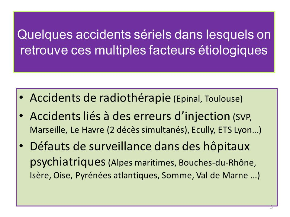 Quelques accidents sériels dans lesquels on retrouve ces multiples facteurs étiologiques Accidents de radiothérapie (Epinal, Toulouse) Accidents liés