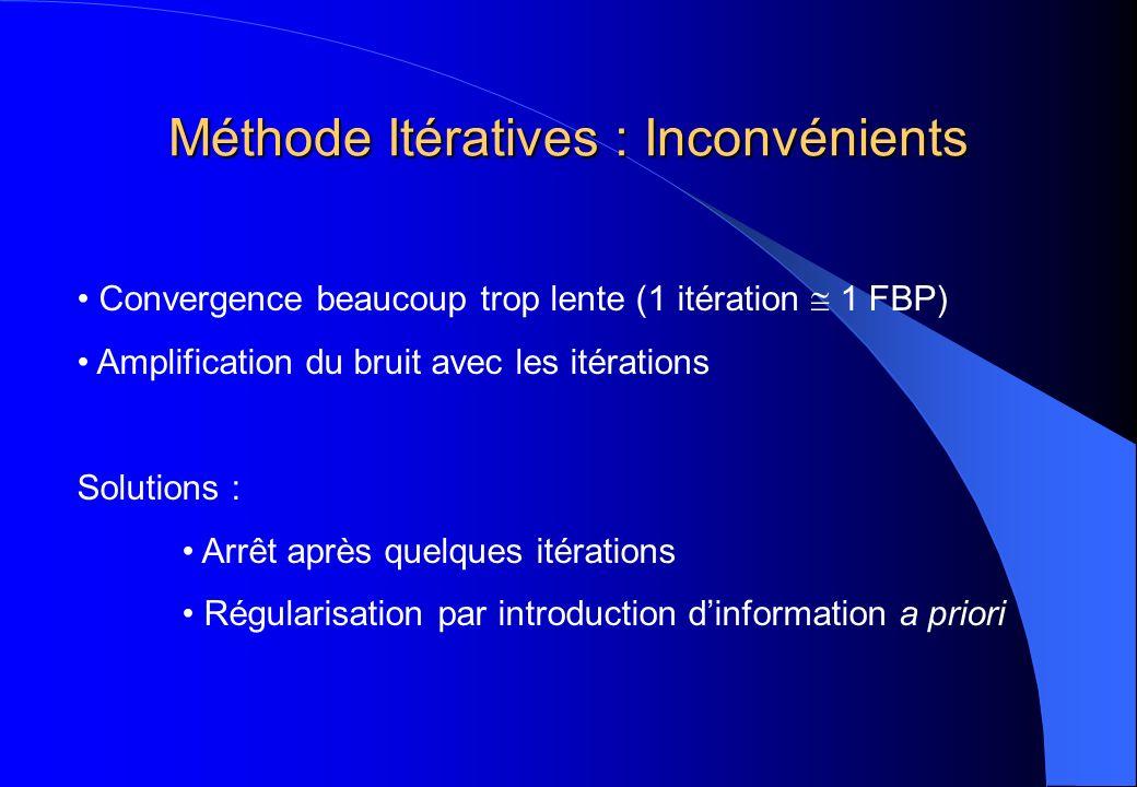 Méthode Itératives : Inconvénients Convergence beaucoup trop lente (1 itération 1 FBP) Amplification du bruit avec les itérations Solutions : Arrêt ap