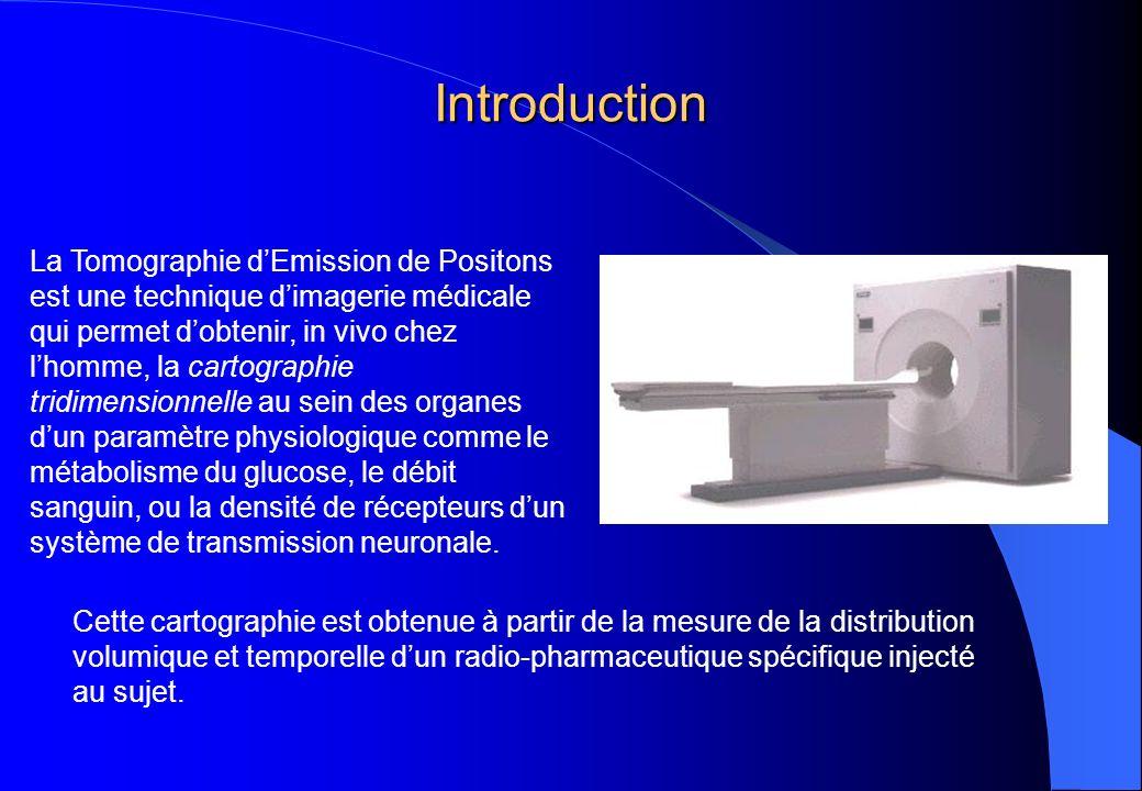 Introduction La Tomographie dEmission de Positons est une technique dimagerie médicale qui permet dobtenir, in vivo chez lhomme, la cartographie tridi
